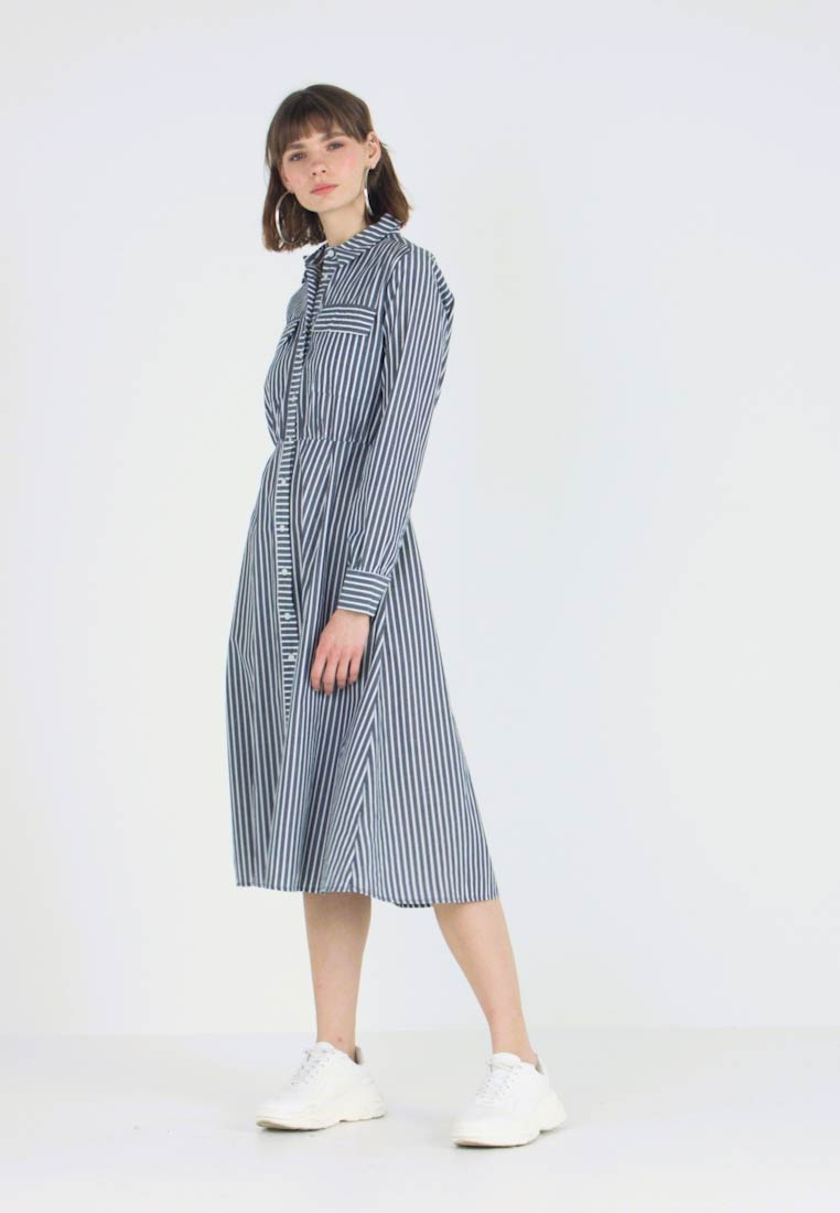 Warehouse - STRIPE DRESS - Shirt dress - blue