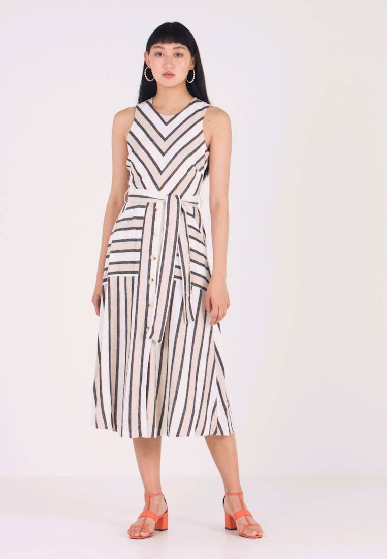 Stripe Neutral Button Front Dress Longue Robe Warehouse bY7gvyf6