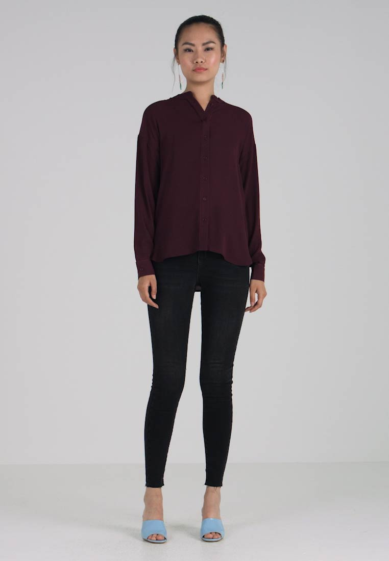 Long Fig Shirt Tipped Warehouse Women's Sleeve Blouse dTWvYq