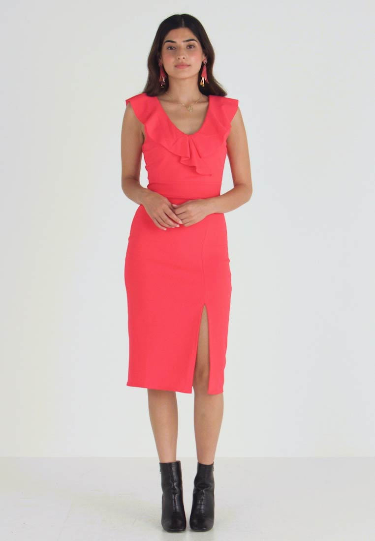WAL G PETITE - RUFFLE NECKLINE DRESS - Cocktail dress / Party dress - coral