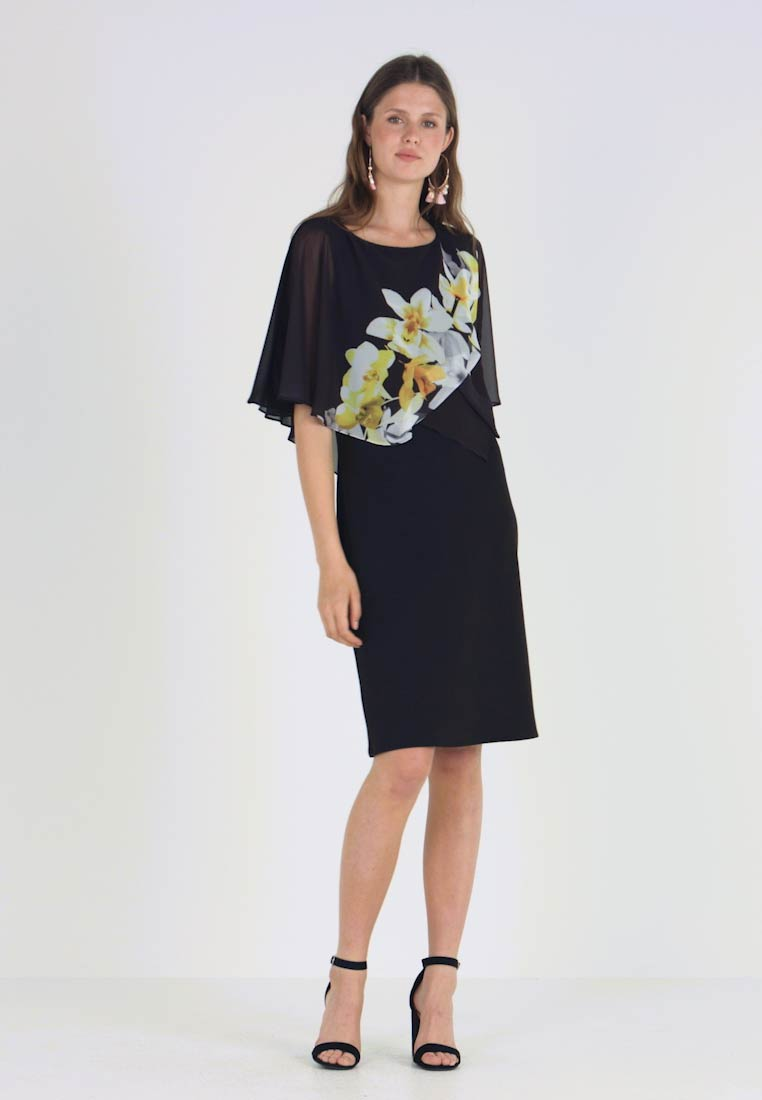 Wallis Tall - LEMON ORCHID OVERLAYER DRESS - Jerseykjoler - black