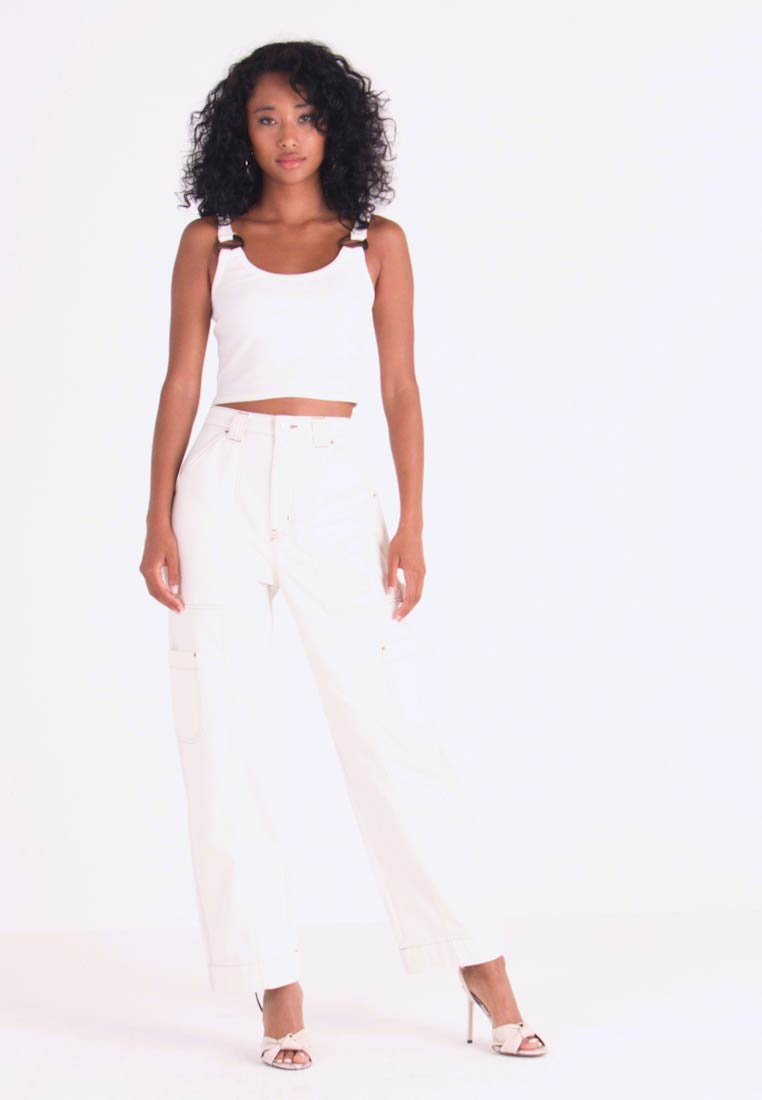 Weekday - GROW TROUSERS - Jeans Relaxed Fit - white