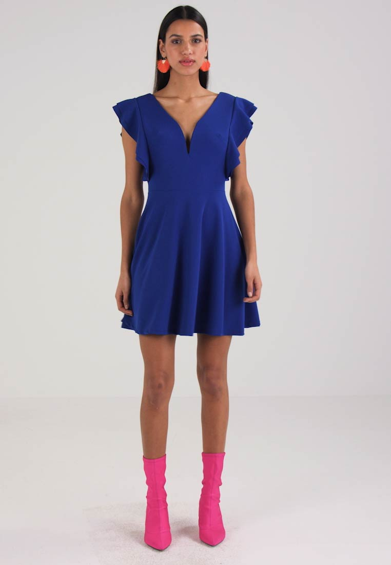 WAL G. PLUNGE NECKLINE WITH FLUTTER SLEEVES DRESS - Cocktailkjole cobalt blue
