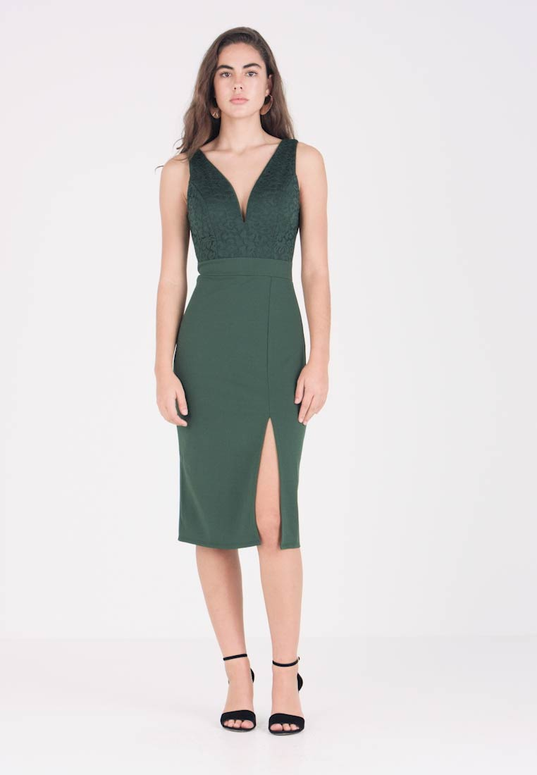 GV Neck Wal MidiRobe Green Fourreau NnkZO8X0wP