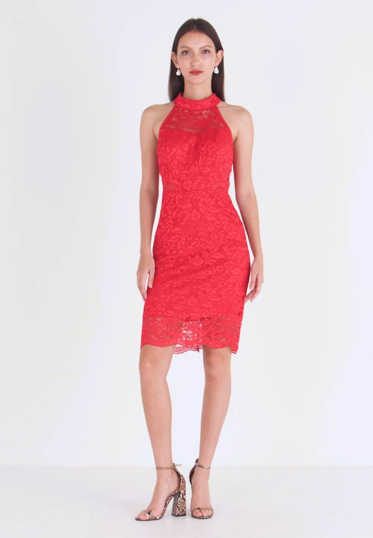 WAL G. - HELCTER NECK MINI DRESS - Juhlamekko - red
