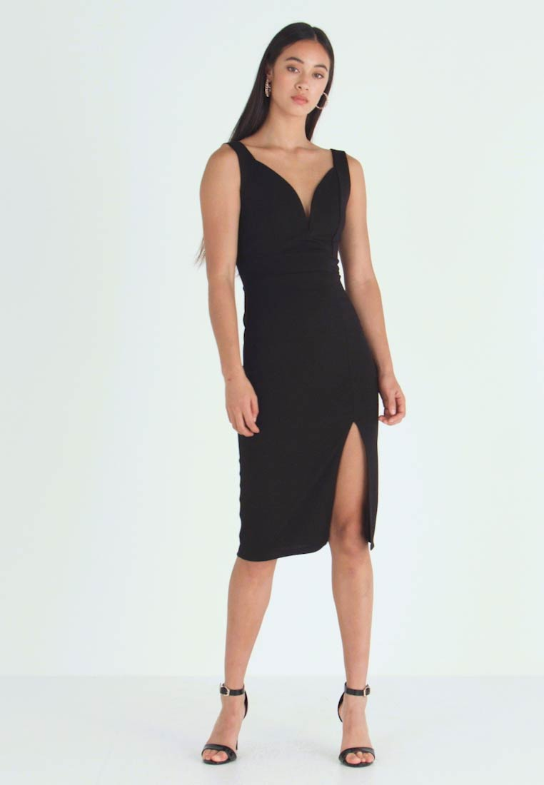 WAL G. - V NECK PLUNGE MIDI DRESS - Shift dress - black