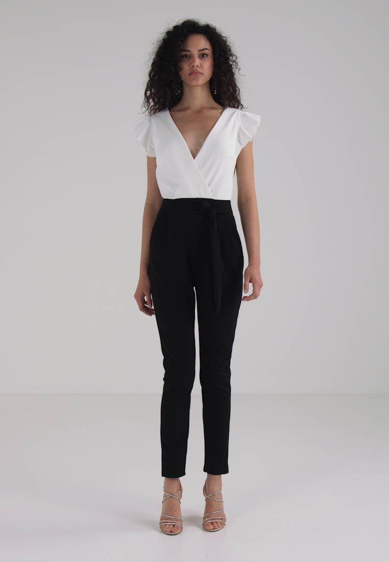 WAL G. TWO TONE FRILL SLEEVE - Jumpsuit - black/white