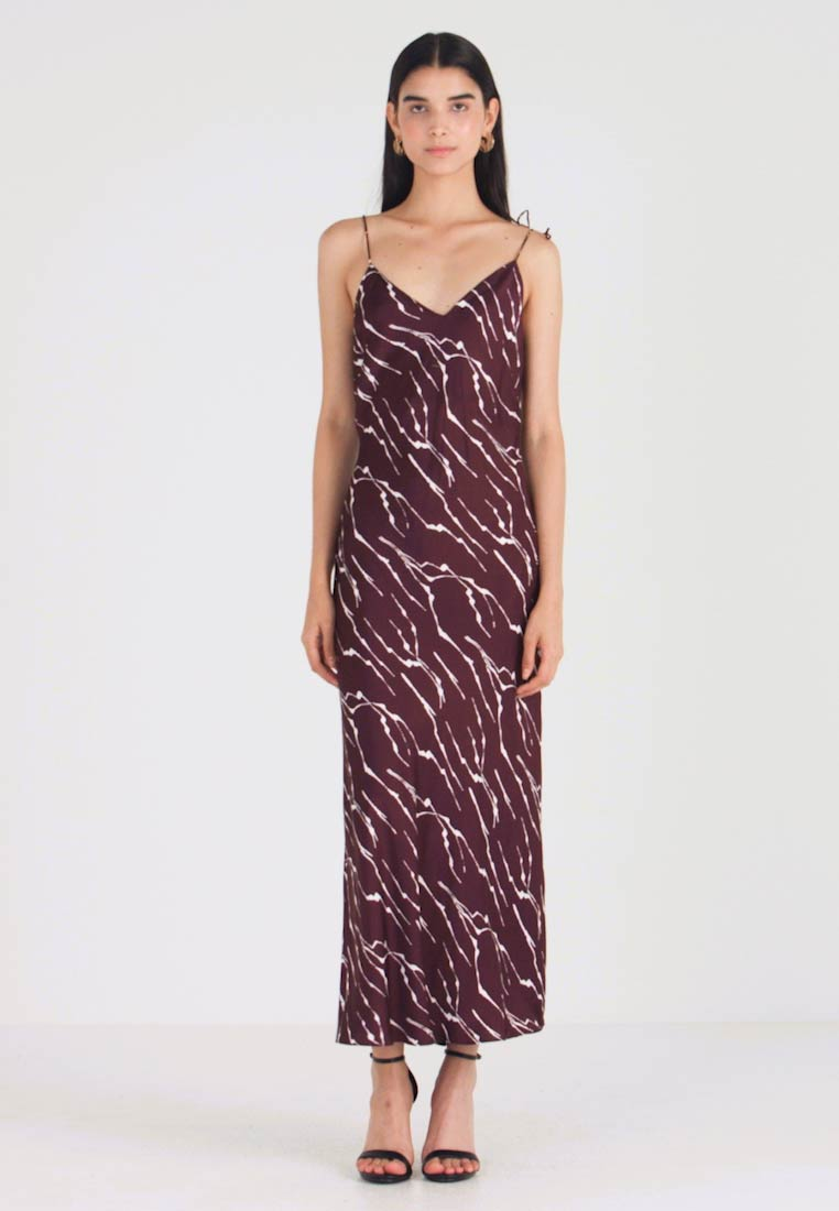 Whistles - DAGMA PRINT SLIP DRESS - Maxikjole - burgundy