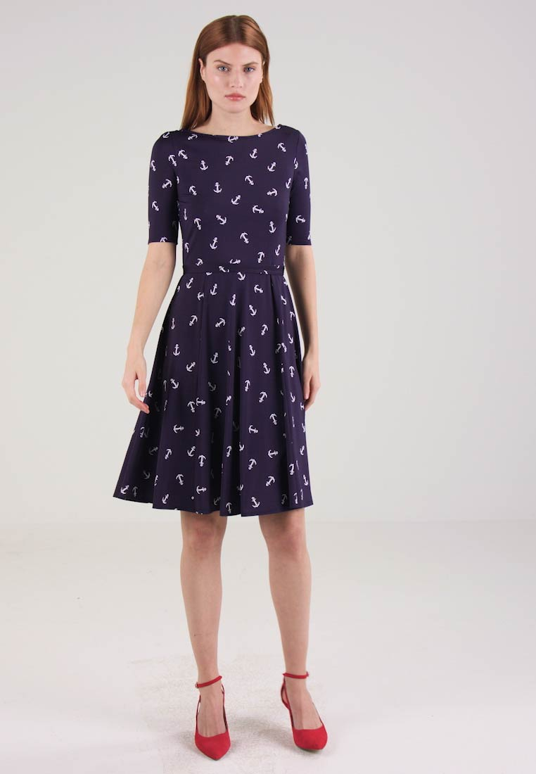 Wallis ANCHOR PRINT FIT AND FLARE - Jerseykjole navy/ivory