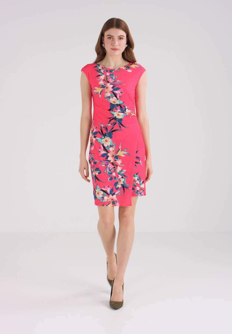 Side Wrap Rouch Fern Pink Wallis Tropical Dress Shift q1tfSS