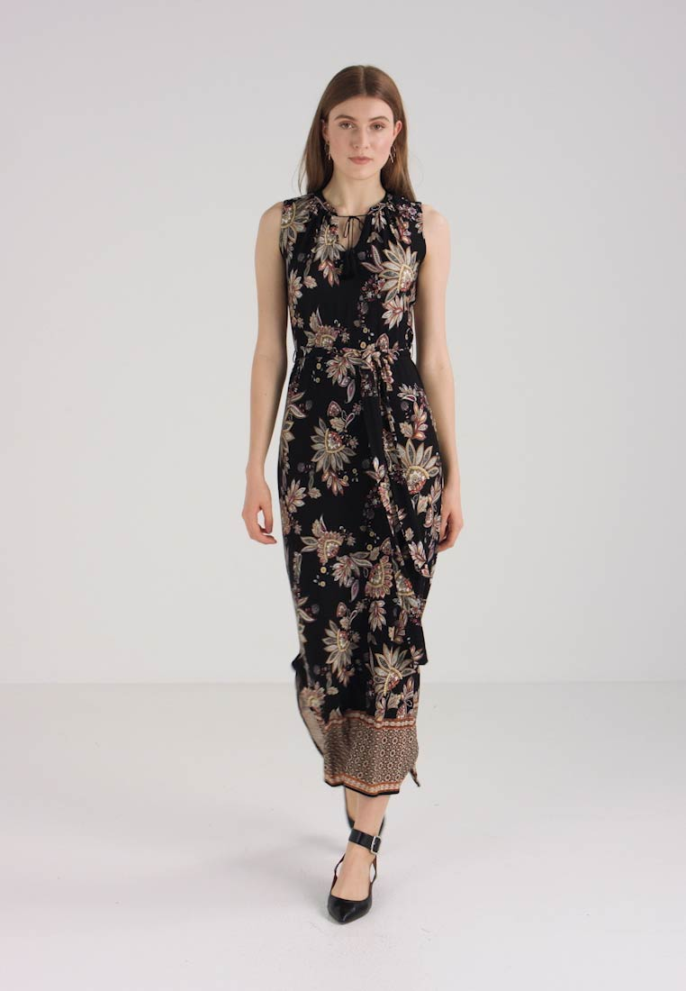 Wallis Border Black Maxi Dress Spiced rqCzr