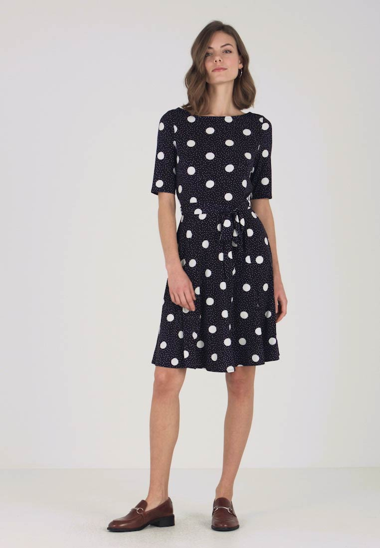 Wallis - MIXED SIZE POLKA DOT - Jerseykleid - dark blue