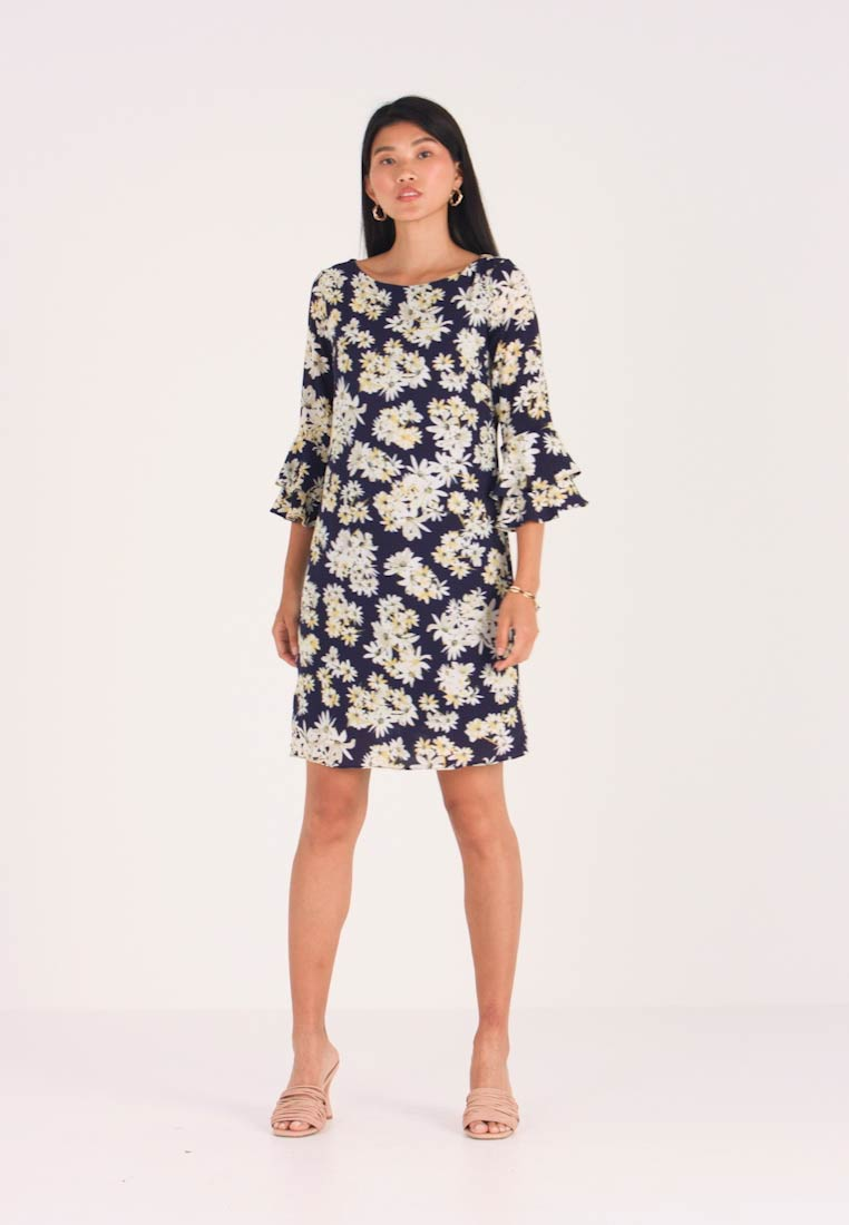 Wallis - FLASH DAISY DOUBLE FLUTE SLEEVE DRESS - Day dress - ink