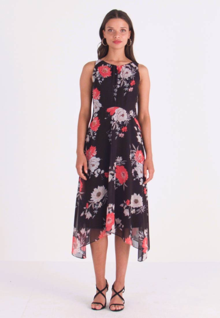 De Tiered Black Wallis Petite DressRobe Cocktail Bird Event Print W2IEDH9Y
